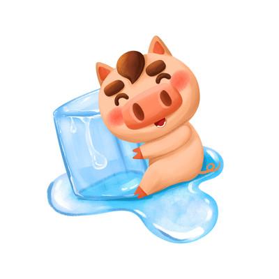 夏天冰爽猪猪手绘插画元素