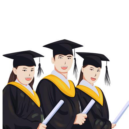 毕业季大学生插画元素
