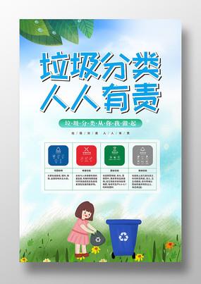 卡通手绘垃圾分类知识海报