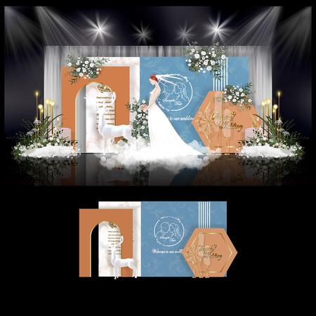 蓝橙色简约婚礼效果图设计婚庆舞台背景布置