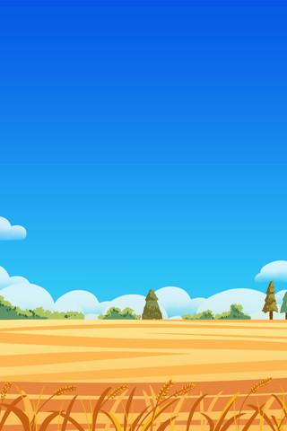 蓝天秋季丰收麦田手绘