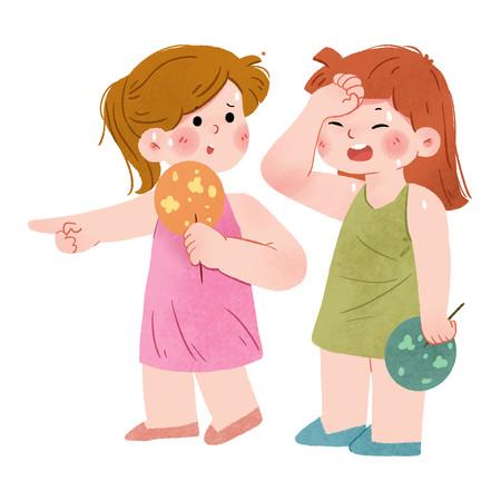 手绘卡通夏天热的出汗的两个小女孩
