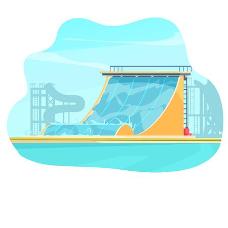 水上乐园背景插画元素