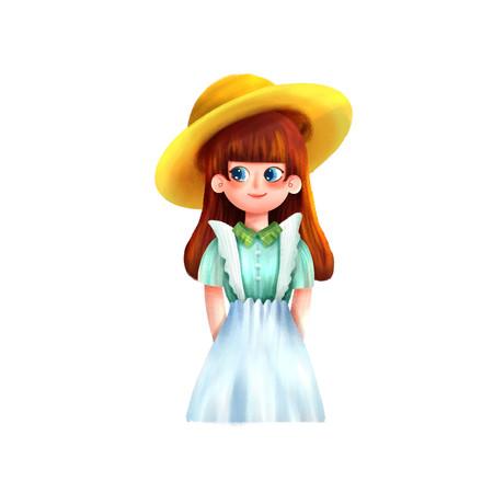 夏天戴帽子女孩人物元素