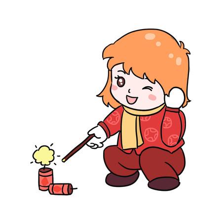 新年放鞭炮手绘卡通元素