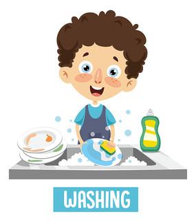 正在厨房洗碗的男孩