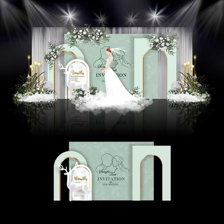 白绿色小清新婚礼效果图设计婚庆舞台背景
