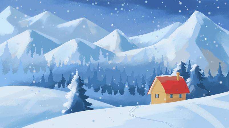 立冬冬天小雪冬至唯美风景