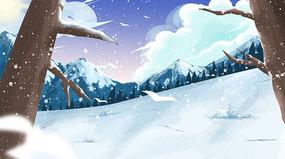 唯美冬至立冬大雪冬天风景插画