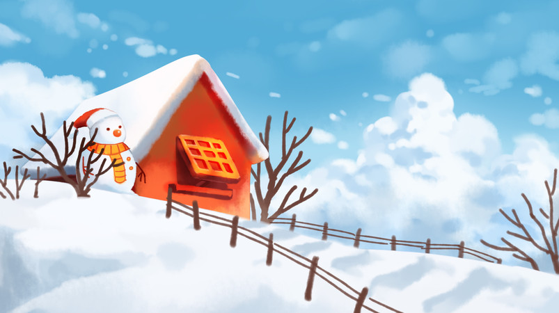 唯美风景立冬冬至小雪大雪雪人建筑冬日插画