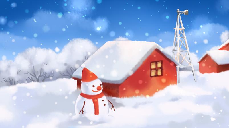 唯美风景雪人立冬冬至小雪大雪冬天插画