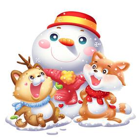 立冬冬天小雪猫雪人