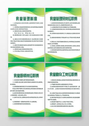 绿色简约食堂管理制度展板