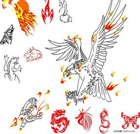 动物纹身图案矢量图