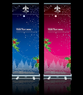 冬季圣诞节易拉宝设计背景图