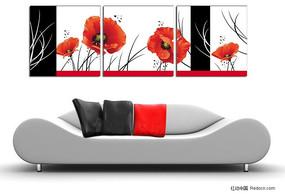 花朵矢量无框装饰画