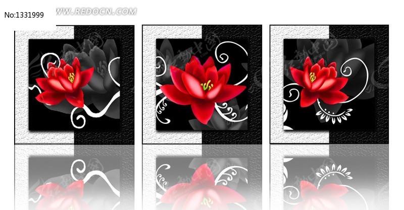 红色绽放花朵无框画图片
