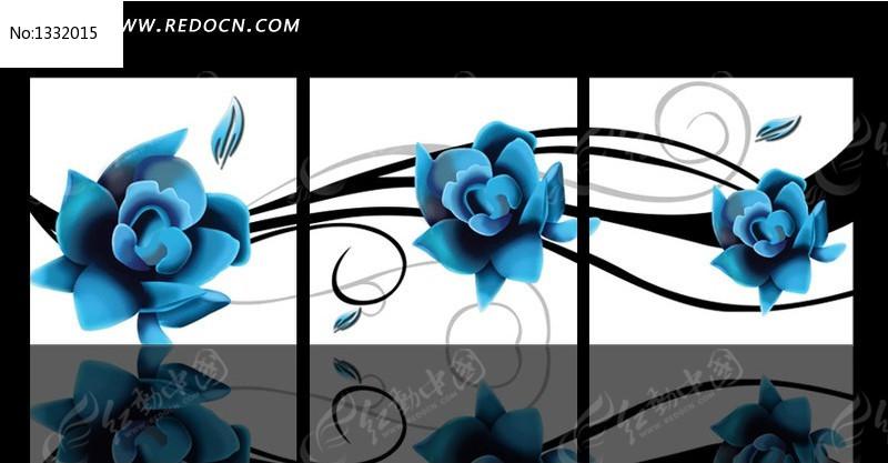 蓝玫瑰无框画图片