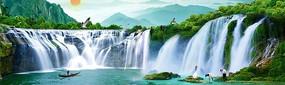 瀑布山水画