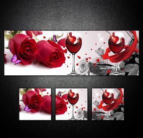 红酒玫瑰无框画