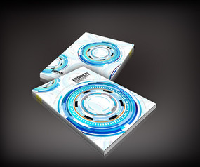 蓝色科技圆环画册封面