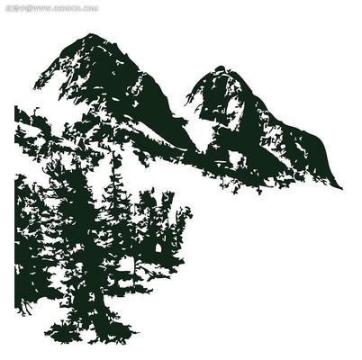 户外山脉风景矢量图