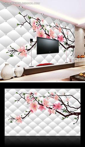 桃花开了3D电视背景墙