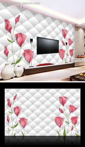 手绘玫瑰3D电视背景墙