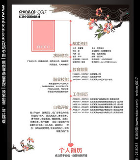 中国风水墨花简历设计
