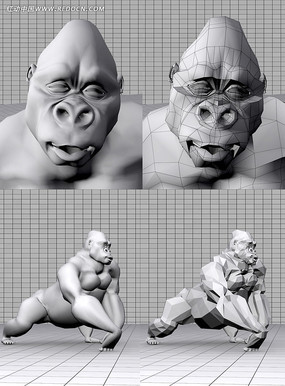 猩猩3D模型 max