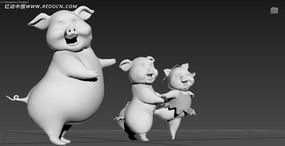 三只小猪3d模型 max