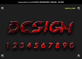 0-9红色立体数字字体