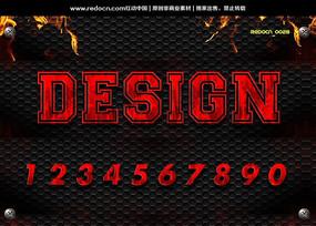 0-9红色恐怖字体 PSD