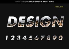 0-9豹纹水晶质感字体 PSD