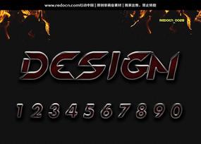 0-9黑色酷字体 PSD