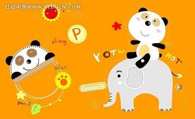 卡通熊猫印花图案
