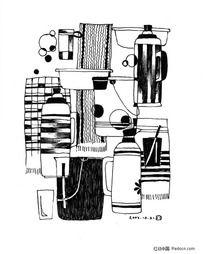 黑白插画-日用品