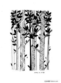 黑白插画-树林