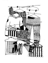 黑白插画-阳台上的衣服