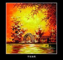油画风景秋天枫树林