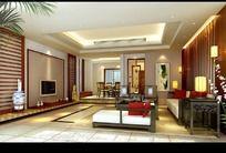 偏中式家居设计客厅效果图设计