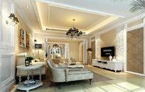 室内设计豪华欧式客厅效果图制作