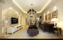 欧式气派室内设计个性客厅效果图