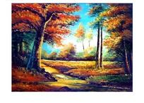 林间小溪风景油画
