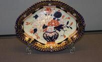 19世纪德比精美手绘花卉静物金色描边托盘