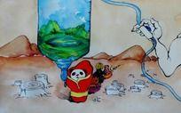 人与动物插画