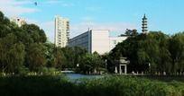 温州马鞍池公园湖畔风景