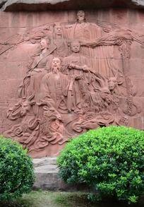 天外的神仙石头浮雕