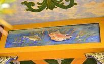 古典水彩鲤鱼戏水凉亭浮雕壁画