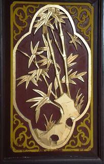 漆金雕花竹子屏风图案